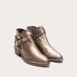 NWT Frye Ray Western Shootie Boots Golden Silver
